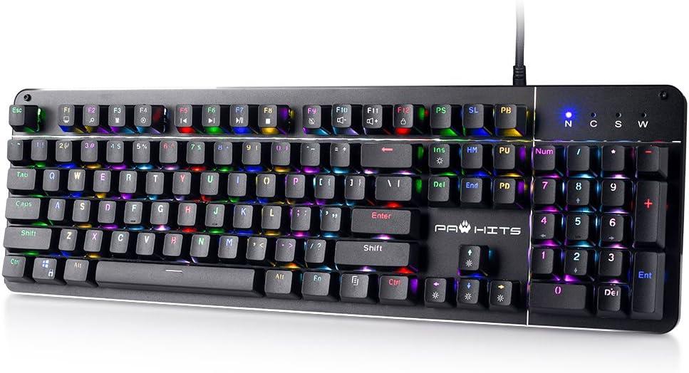 PAWHITS RGB Mechanical Gaming Keyboard 104 Keys Blue Switches LED Backlit