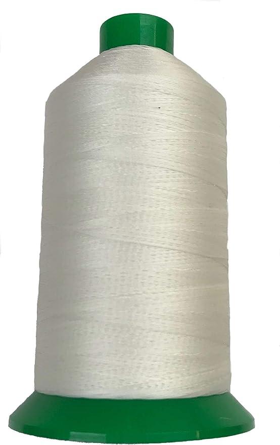 Serabond Bonded 92 hilo de poliéster resistente a los rayos UV, bobina de 8 onzas, color blanco y negro, extra fuerte para tapicería, resistente, se puede utilizar en máquinas de coser domésticas: