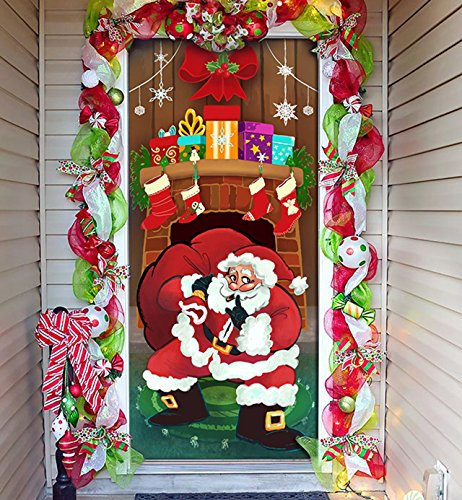 Joiedomi Christmas Santa with Gifts Window Door Cover Holiday House Decoration 72X30 -