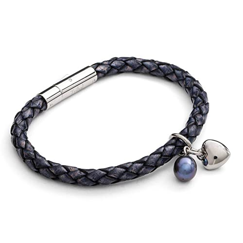 Tribal Steel, Damenarmband aus denimfarbem Leder mit Edelstahlschließe, Herz-Charm und echter Perle, 19cm lang