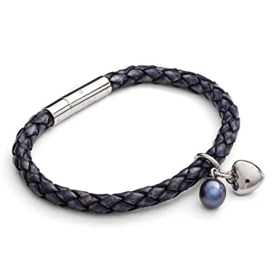 Tribal Steel 19cm 2-Strand Berry Coloured Leather and Stainless Steel Bracelet with Heart Charm LdRtNqaN1