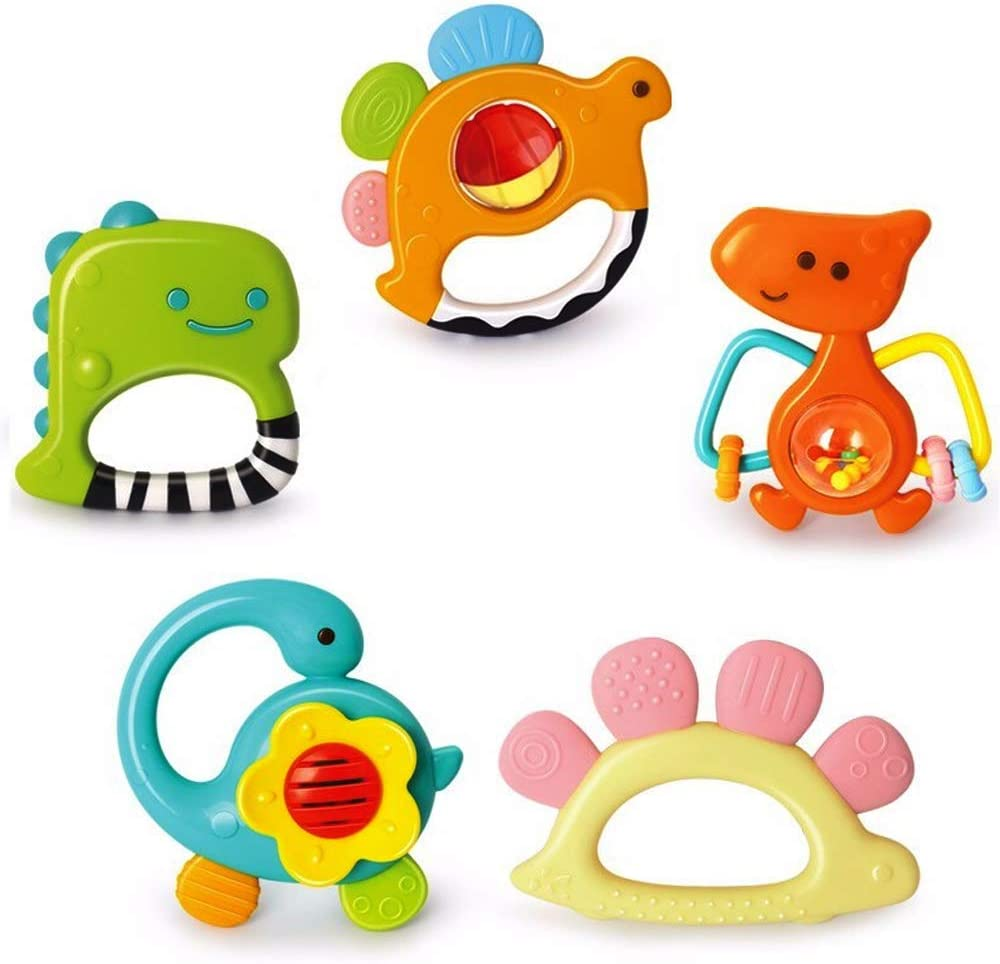 Spin Shaking Bell Musical Toy Set 9 Pcs Chewing Silicone Teether Vanmor Baby Rattles Teether Toys Shaker Early Educational Toy Gift for Newborn Baby Toddler Infant Grasping Grab Toy