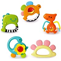Yiosion Baby Rattles Sets Teether, Shaker, Grab and Spin Rattle, Musical Toy Set, Early Educational Toys Gift for 3, 6…