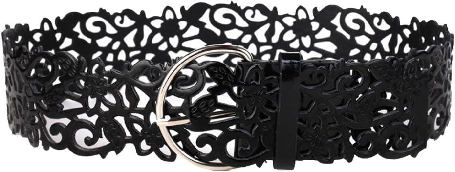 Fashion Lady Femmes Ceinture Noire en Cuir PU Métal Argenté Boucle pour robe de ceinture