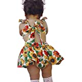 Sonnena vestido Niña bebé vestido, estampado de girasol sin mangas para bebé niña lindo ropa de verano (dos piesas:vestido + shorts)