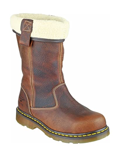 top style well known cheap sale Dr. Martens Ladies Rosa Brown Leather Safety Rigger Work Boots
