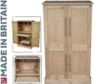 Solid Pine Desk, 4 Door Computer Workstation, Hideaway, Hidden Home Office  Cabinet.