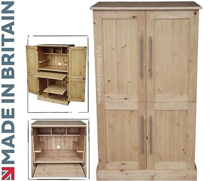 Madera de pino maciza escritorio, 4 puerta ordenador estación de ...