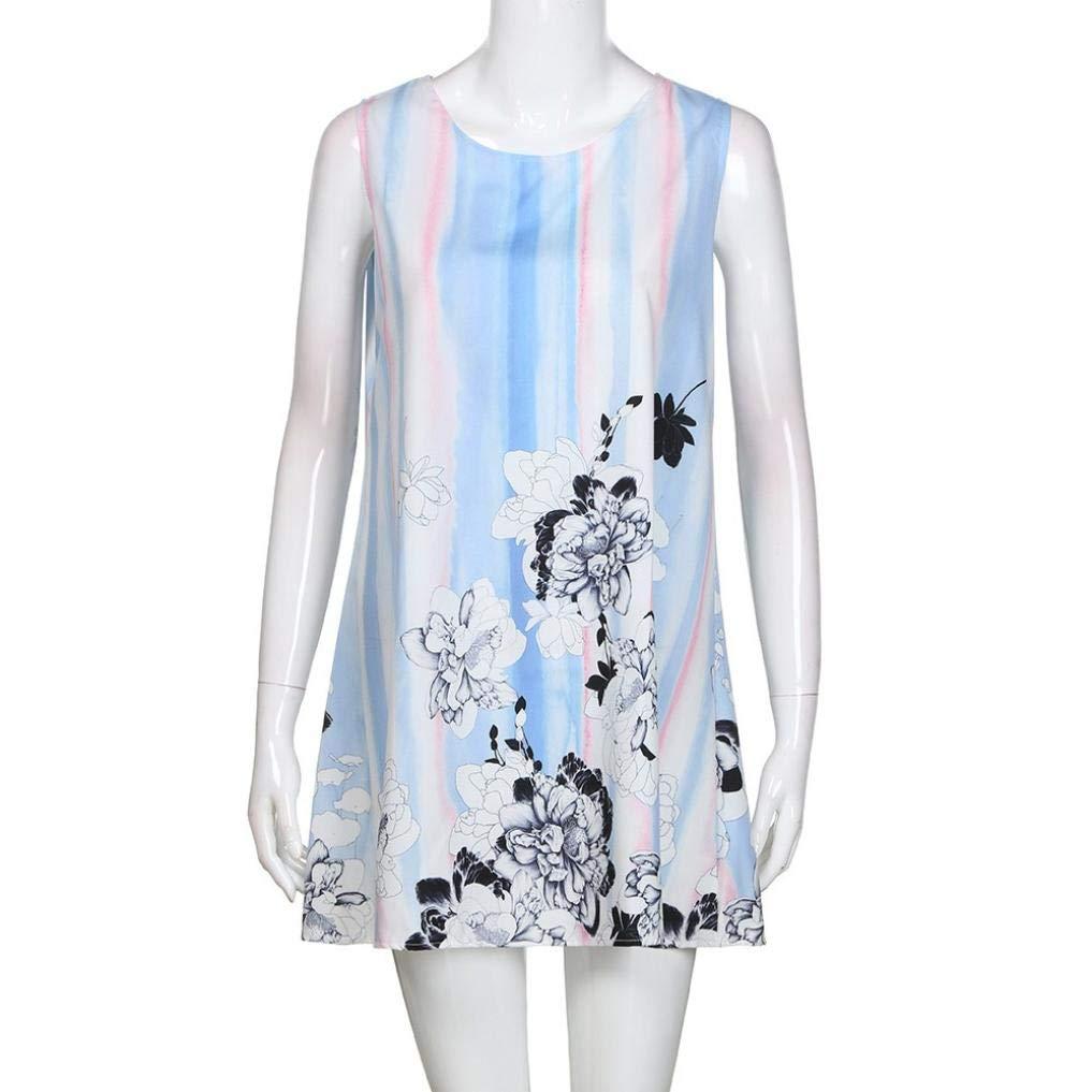 UONQD 2019d Short Sleeve Round Neck Triple Color Block Stripe T-Shirt Casual Blouse(Small,e-Blue) by UONQD (Image #4)