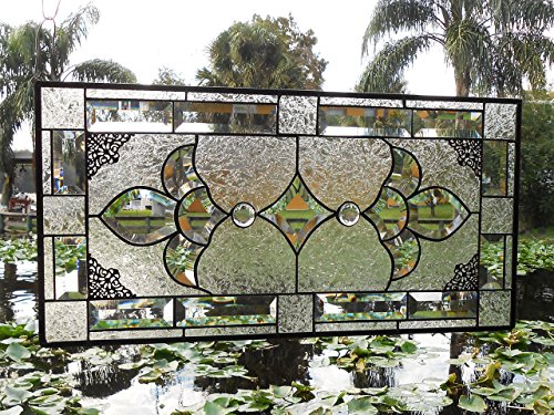 (Beveled Glass Panel Transom, Antique Stained Glass Window, Crystal Stained Glass Transom Window Panel, Unique Window Hanging, OOAK Handmade)