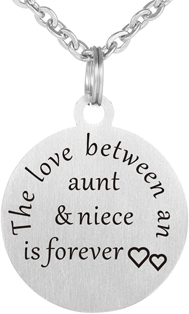 Kisseason The Love Between a Aunt and Niece is Forever Dog Tag Keychain Jewelry Pendant Necklace