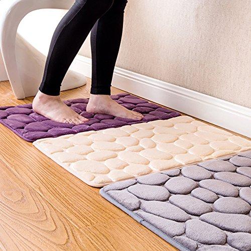 Mat Pebble (Chezaa 23.6 x15.7 Inch Rugs Pebble Memory Foam Bath Mat Carpet Floor Mats Carpet (E))