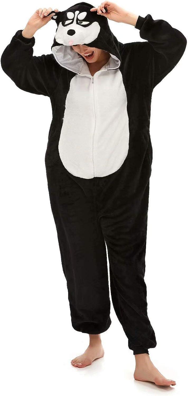 AlfaBridal Animal Onesie Costume Plush One-Piece Cartoon Cosplay Pajamas for Adults and Kids