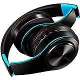 密閉型 Bluetoothワイヤレス ヘッドホン ヘッドフォン 高音質 折りたたみ式 ケーブル着脱式マイク付き (青+黒)