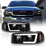 ACANII - For Black 1999-2006 GMC Sierra Yukon Denali LED Tube Projector Headlights Headlamps Driver & Passenger Side