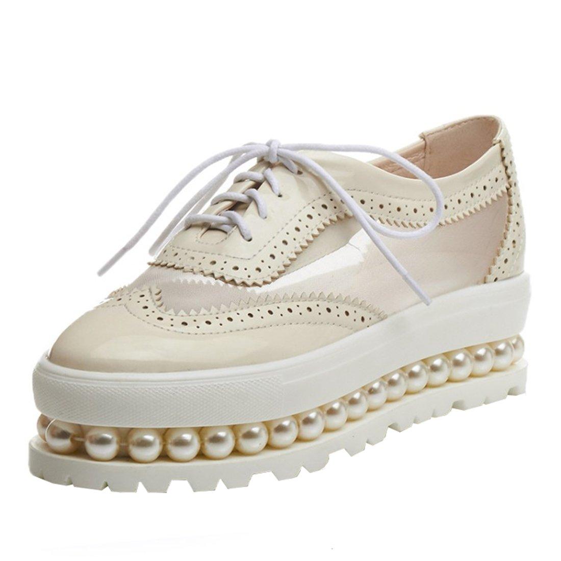 UH Damen Vintage Flach Geschlossen Plateau Pumps mit Schnuuml;rung und Perlen 5cm Absatz Freizeit Schuhe38 EU|Beige