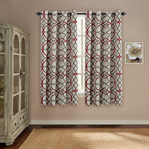 Thermal Insulated Blackout Curtains for Living Room / Bedroom Window 100% Privacy Window Treatment Panels Grommet Drapes - 52 inch Wide by 63 inch Long - Set of 2 - Taupe and Red Geo Pattern