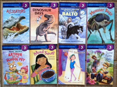 Baseball Ballerina - Set of 8 Step Into Reading Level 3 Books (Dinosaur Days ~ The Great Fairy Race ~ Monster Bugs ~ Mud Soup ~ Alligators: Life in the Wild ~ Baseball Ballerina ~ The Bravest Dog Ever: The True Story of Balto ~ Arthur and the School Pet)
