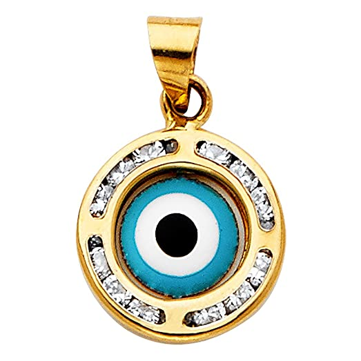Amazon solid 14k yellow gold evil eye charm nazar pendant cz solid 14k yellow gold evil eye charm nazar pendant cz good luck greek turkish round medallion mozeypictures Image collections