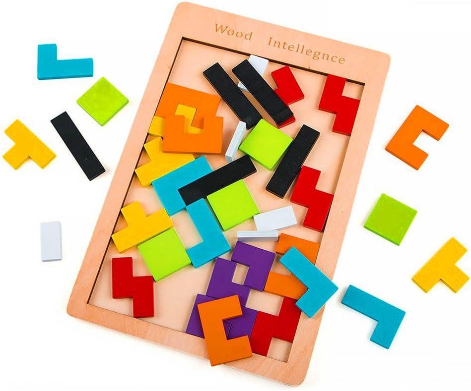 27cm Scrox 1x Tetris en Bois Puzzle Tangram Jigsaw Jouet Intelligence Jeu de Bloc Naturel Non-Verni Jeu De Construction Et dImagination Jeu /Éducatif 18