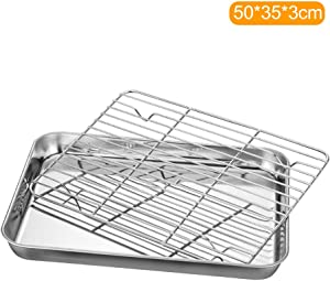 Leepesx Stainless Steel Flat Bottom Baking Tray with Mesh Set Square Barbecue Plate with Cooling Rack Drip Pan Baking Plate Barbecue Tray Bakeware (50353cm)