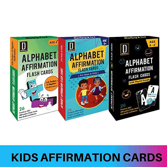 Darlyng & Co.'s Modern Alphabet Affirmation Flash Cards for Kids ABC Flash Cards (3 Decks Special)