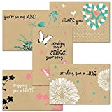 Thinking of You Kraft Greeting Card Value Pack - Set of 20 (5 designs), Large 5'' x 7'' Friendship Cards with Sentiments