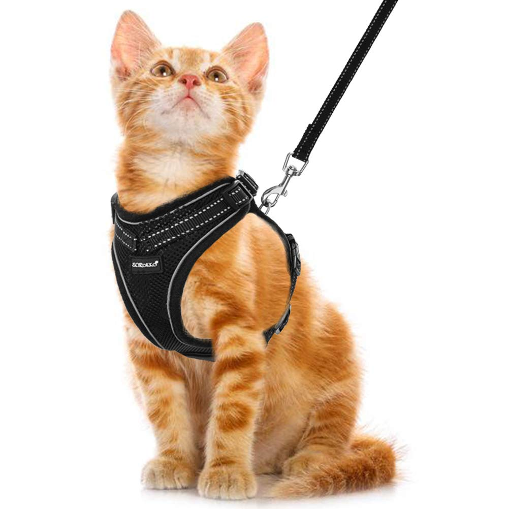 Cat Harness and Leash Set – Soft Breathable Mesh Summer Cooling Vest Harness, Reflective Adjustable Cat Harness for…