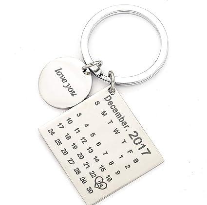 Llavero personalizado con calendario para boda, ceremonia ...