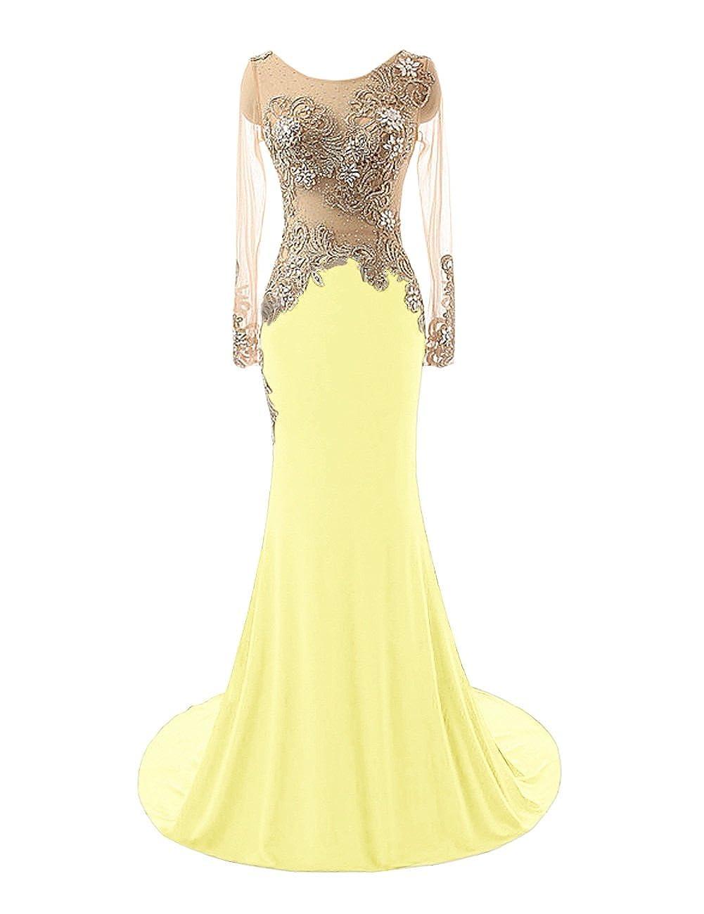 Daffodil Bess Bridal Women's Mermaid Beaded Sheer Long Sleeves Prom Evening Dresses