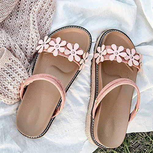 Simple Suave De Rosa Zapatillas Femenina Un Plana GAOLIM Desgaste Y Zapato Hermana Cool Dos De Versátil Bizcocho Base Verano Sandalias Estudiante AwxqX18