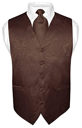 Men's Paisley Design Dress Vest & NeckTie BROWN Color Neck Tie Set ...