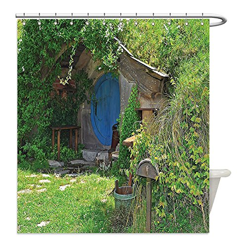 Costume Hobbit Diy (Liguo88 Custom Waterproof Bathroom Shower Curtain Polyester Hobbits Fantasy Hobbit Land House in Magical Overhill Woods Movie Scene Image New Zealand Decor Green Brown Blue Decorative)