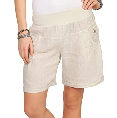 11fce095b29506 Mississhop 276 Damen Leinenshorts Bermuda lockere Kurze Hose Freizeithose  100% Leinen Shorts Elegante Haremshose mit
