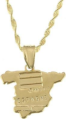 BR Gold Jewelry Cadena con colgante de mapa de España para mujer ...