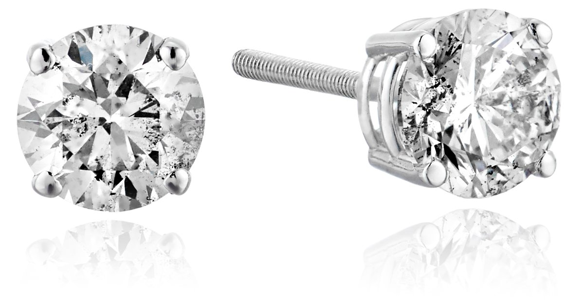 14k White Gold Diamond with Screw Back and Post Stud Earrings(1 Cttw, K-L Color, 12 Clarity)