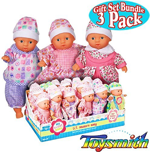 Toysmith Lil Newborn Mini Baby Dolls (6 Inch) Gift Set Bundle - 3 Pack (Assorted)