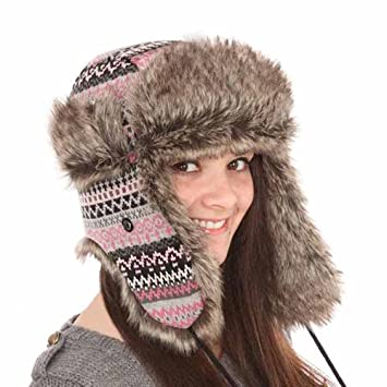 3c962fb9c71 ... size 40 e3b59 b6683 New Men Womens Fur Fairisle Check Trapper Warm  Winter Thermal Hat A835 ...