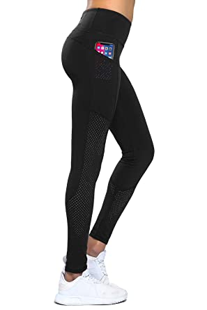 2d75f4e97df2d0 Gym Tights Women Yoga Pants High Waisted Running Sports Compression Workout  Leggings With Pockets Tummy Control Mesh Tights Shapewear Women