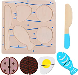 ONEST Wooden Cutting Food Toys Cutting Vegetables Meat Egg Food Toys Pretend Play Food Toy for Kids with Wooden Knife and Tray