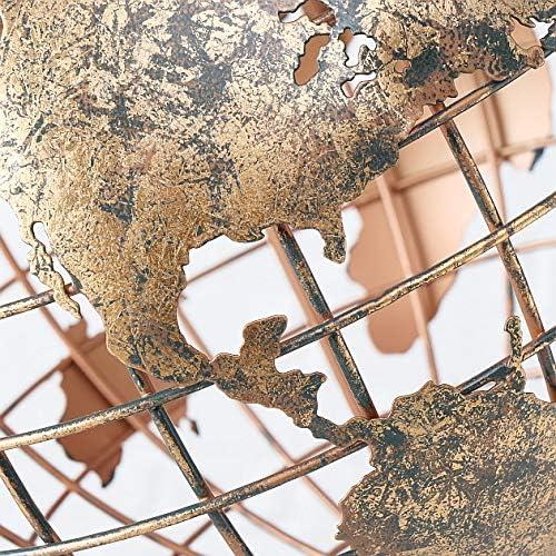CasaJame Mappamondo decorativo in metallo altezza 52 cm struttura scheletro oro anticato