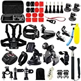 (US) Iextreme 48-in-1 Action Camera Accessories Kits for Gopro 4/3/2/1 SJ4000 SJ5000 Accessory Bundles with Chest Harness Mount/Suction Cup Mount/Selfie Stick/Folating Hand Grip