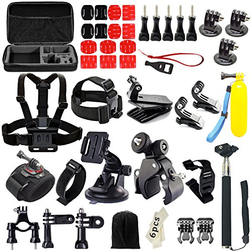 Iextreme 48-in-1 Action Camera Accessories Kits for Gopro 4/3/2/1 SJ4000 SJ5000 Accessory Bundles with Chest Harness Mount/Suction Cup Mount/Selfie Stick/Folating Hand Grip (48