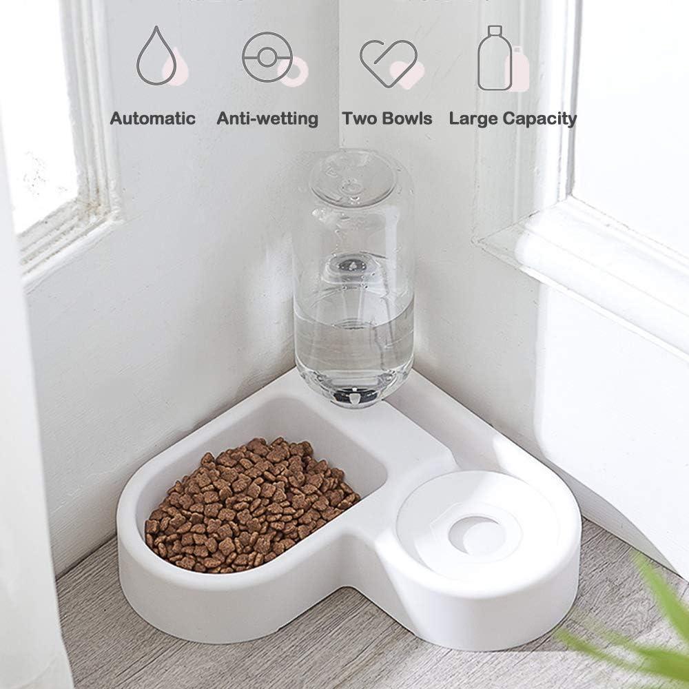 2 in 1 Comedero y Bebedero Automático para Gatos y Perros, Anti Salpicaduras Dispensador Agua Alimentador Automatico Fuentes para Mascotas, Dispensador de Alimentación y Bebida para Animal(Blanco)
