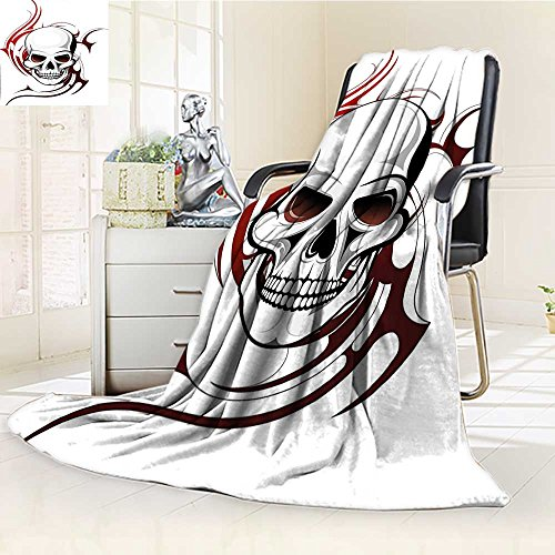 YOYIHOME Custom Design Cozy Flannel Duplex Printed Blanket Tattoo Scary Fierce and Wild Skull with Red Flames Tribal Artistic Tattoo Image Red and White Lightweight Blanket Extra Big /W47 x H79