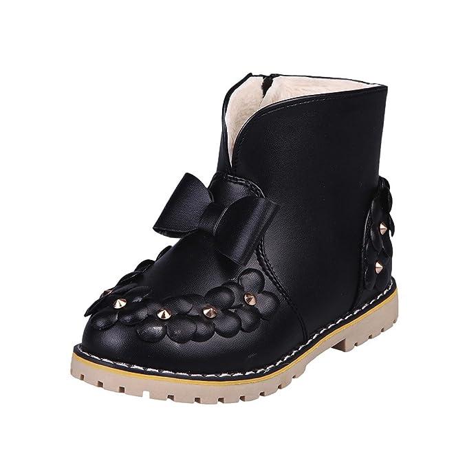 YanHoo Zapatos para niños Botas de niños Niños Chicos cálidos Chicas Bowknot Botas de Zapatillas de Deporte Florales Niños Bebé Zapatos Casuales Botas de ...