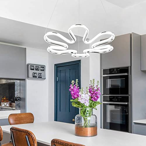 CHYING Modern LED Pendant Light Foyer Contemporary Kitchen Island Chandelier Flower Petal 70W Daylight White 6500K 39.4 inch Adjustable Ceiling Fixture