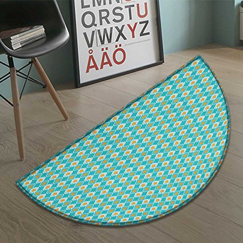 - cobeDecor Ikat Bath Mat non slip Soft Oval Shapes Pattern with African Civilizations Inspirations Lined Motifs Customize door mats for home Mat Turquoise Marigold size:31.5