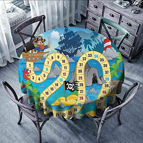 LsWOW Tablecloth Board Game,Ghost Ship with Pirates Lighthouse Tropical Island Waters Buccaneer Ocean Palms,Multicolor Striped Round Tablecloth Size:D70