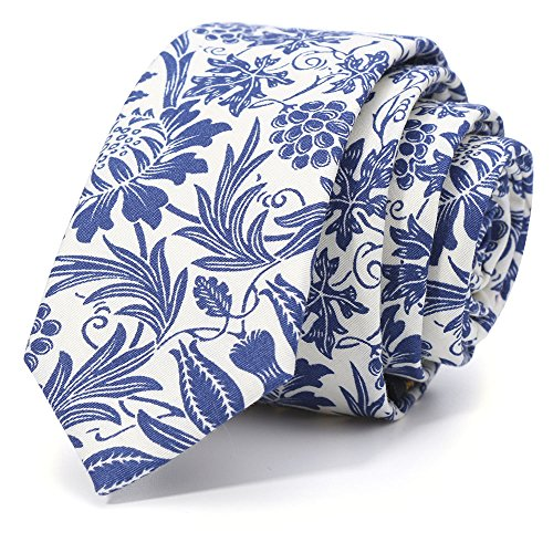 100% Cotton Handmade Skinny Floral Tie Men's Neat Blue Grape Necktie